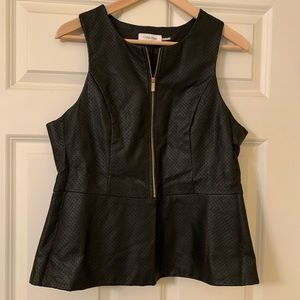 Calvin Klein faux leather vest with zipper